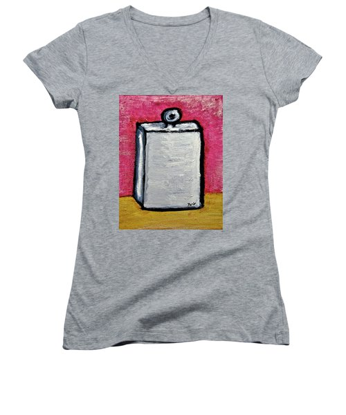 Women's V-Neck T-Shirt (Junior Cut) featuring the painting Stills 10-004 by Mario Perron