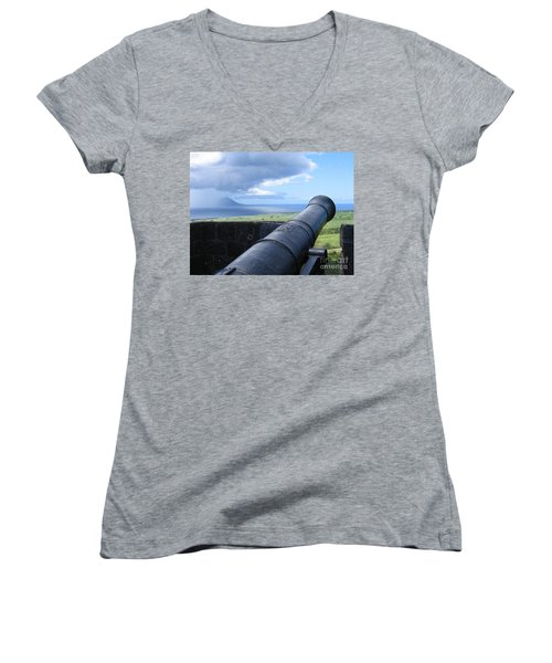 Women's V-Neck T-Shirt (Junior Cut) featuring the photograph St.kitts Nevis - On Guard by HEVi FineArt