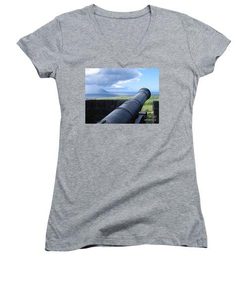 St.kitts Nevis - On Guard Women's V-Neck T-Shirt (Junior Cut) by HEVi FineArt