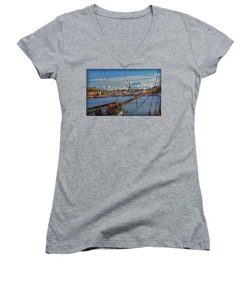 Stockholm Women's V-Neck T-Shirt (Junior Cut) by Hanny Heim