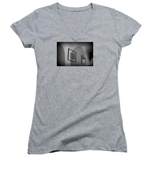 Women's V-Neck T-Shirt (Junior Cut) featuring the photograph Stolen Of Vision by Steven Macanka