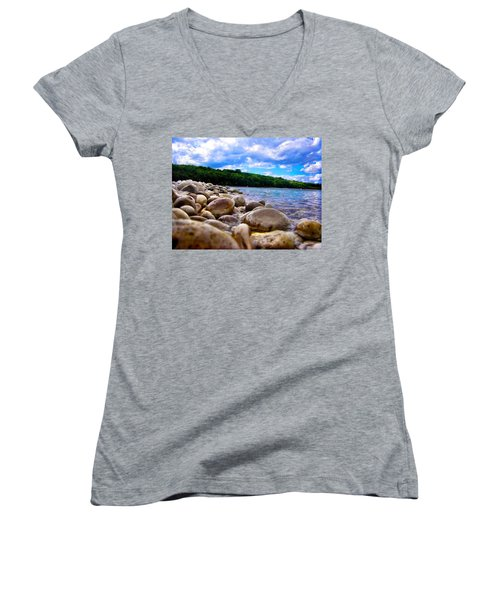 Stone Beach Women's V-Neck T-Shirt (Junior Cut) by Zafer Gurel