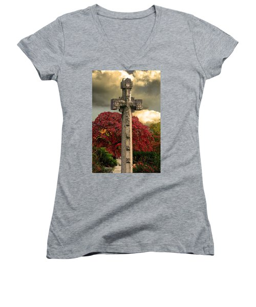 Women's V-Neck T-Shirt (Junior Cut) featuring the photograph Stone Cross In Fall Garden by Lesa Fine