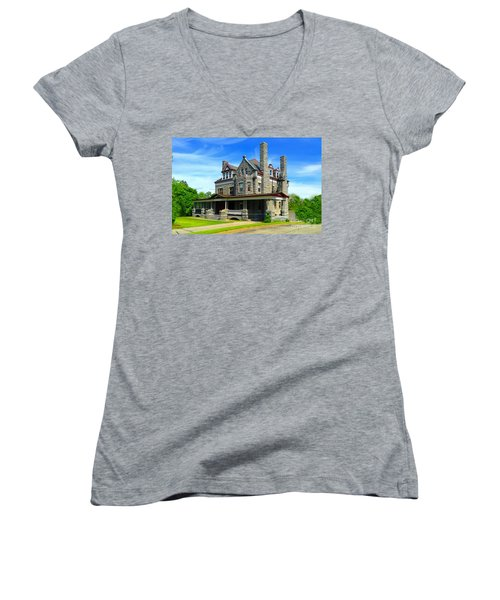 Women's V-Neck T-Shirt (Junior Cut) featuring the photograph Stone Mansion Blue Sky by Becky Lupe