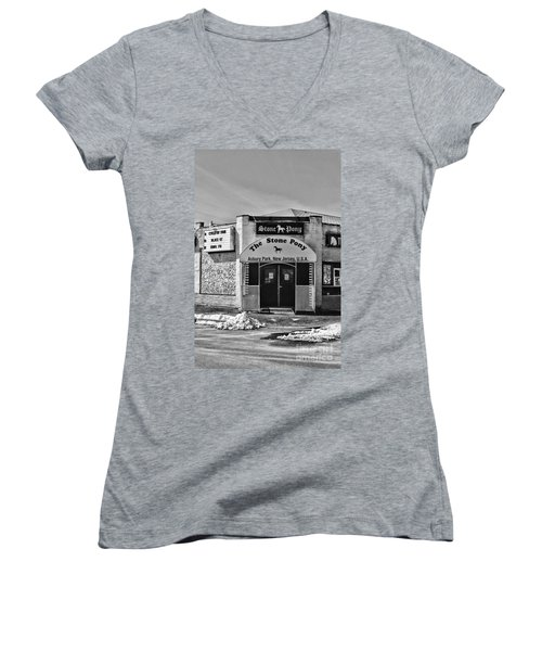 Stone Pony In Black And White Women's V-Neck T-Shirt (Junior Cut) by Paul Ward