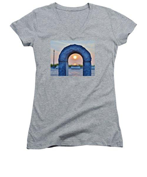 Sunrise Through The Arch - Rehoboth Beach Delaware Women's V-Neck T-Shirt