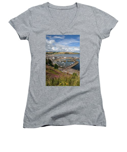 Stonhaven Harbour  Scotland Women's V-Neck T-Shirt (Junior Cut) by Jeremy Voisey