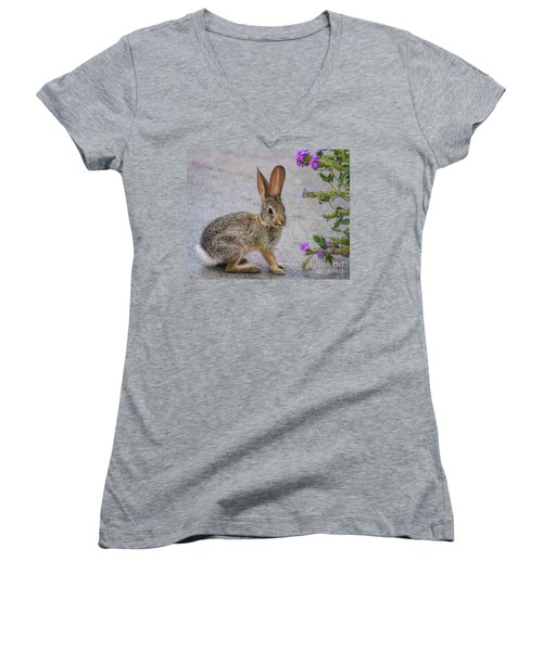 Women's V-Neck T-Shirt (Junior Cut) featuring the photograph Stop And Smell The Flowers by Tammy Espino