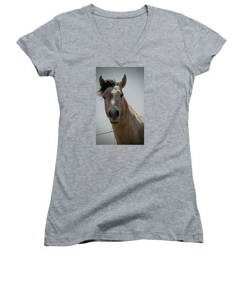 Women's V-Neck T-Shirt (Junior Cut) featuring the photograph Stop Bothering Me by Rima Biswas