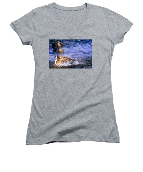 Stop Splashing Women's V-Neck T-Shirt (Junior Cut) by Bobbee Rickard