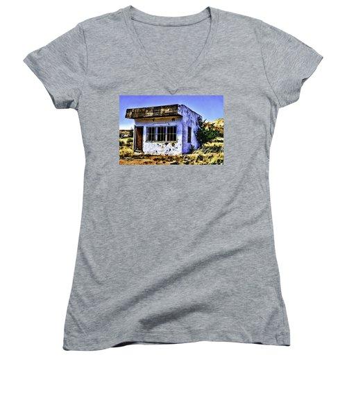 Women's V-Neck T-Shirt (Junior Cut) featuring the painting Store by Muhie Kanawati