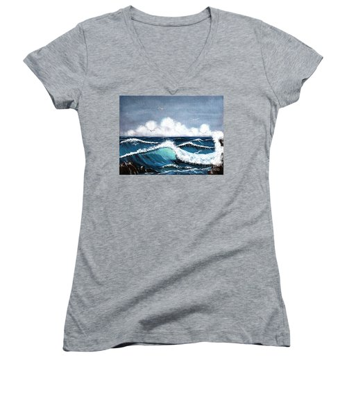 Storm At Sea Women's V-Neck (Athletic Fit)