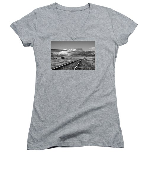 Storm Cloud Above Rail Road Tracks Women's V-Neck T-Shirt