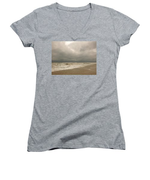 Storm Clouds Women's V-Neck T-Shirt (Junior Cut)