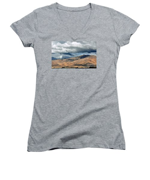Storm Clouds Floating Above Mountains Women's V-Neck T-Shirt (Junior Cut)