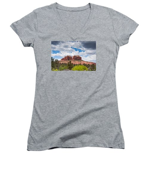 Storm Clouds Over Cathedral Rocks Women's V-Neck T-Shirt (Junior Cut) by Jeff Goulden