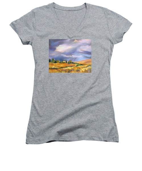 Women's V-Neck T-Shirt (Junior Cut) featuring the painting Storm Colors by Rae Andrews