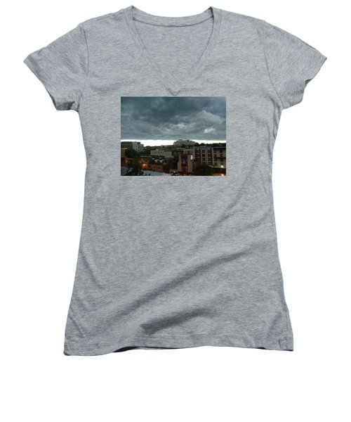 Women's V-Neck T-Shirt (Junior Cut) featuring the photograph Storm Over West Chester by Ed Sweeney