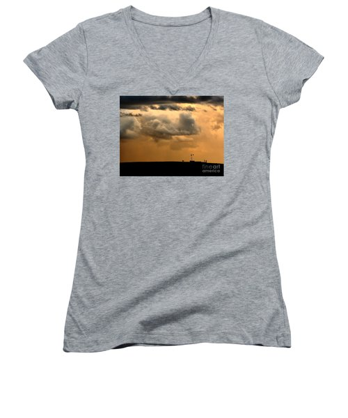 Storm's A Brewing Women's V-Neck T-Shirt (Junior Cut) by Steven Reed