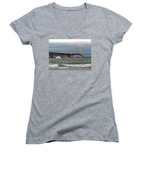 Stormy Straits Of Mackinac Women's V-Neck