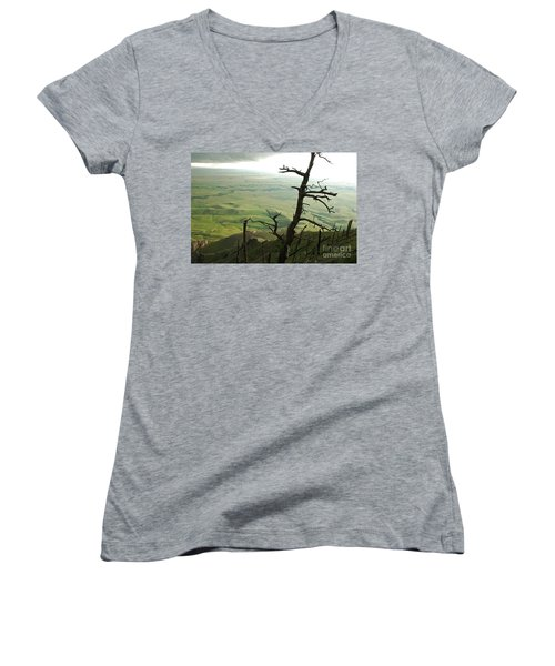 Women's V-Neck T-Shirt (Junior Cut) featuring the photograph Stormy Tree by Mary Carol Story