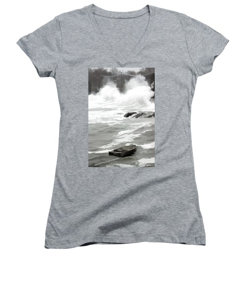 Women's V-Neck T-Shirt (Junior Cut) featuring the photograph Stormy Waves Pound The Shoreline by Jeff Folger