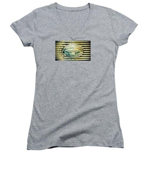 Stout Metal Airplane Co. Emblem Women's V-Neck T-Shirt (Junior Cut) by Susan Garren