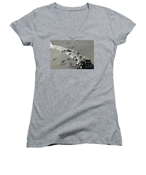 Women's V-Neck T-Shirt featuring the photograph Stranded by Christiane Hellner-OBrien