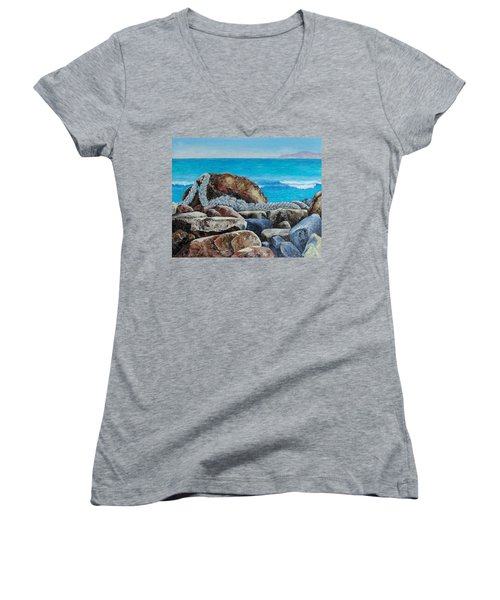 Women's V-Neck T-Shirt (Junior Cut) featuring the painting Stranded by Susan DeLain