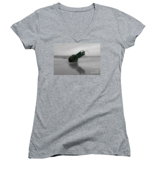 Women's V-Neck T-Shirt (Junior Cut) featuring the photograph Stranded Too by Angela DeFrias