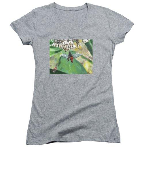 Strange Bug At Flowers Women's V-Neck T-Shirt