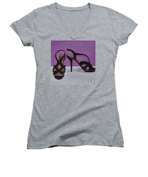 Strappy Black Heels For Maddy Women's V-Neck