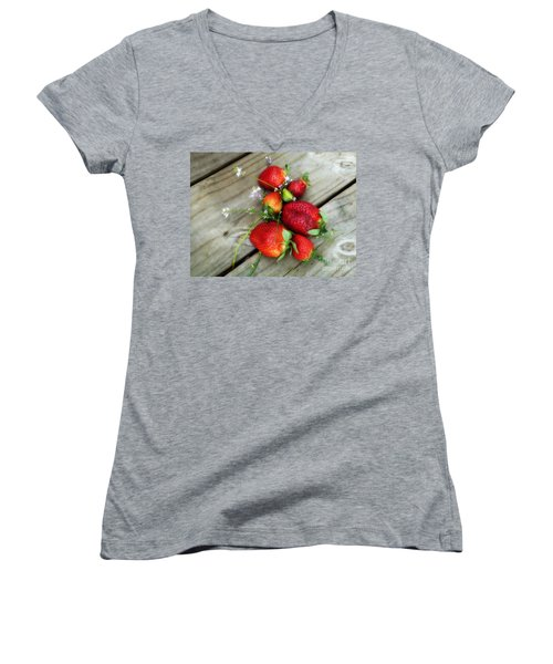 Women's V-Neck T-Shirt (Junior Cut) featuring the digital art Strawberrries by Valerie Reeves