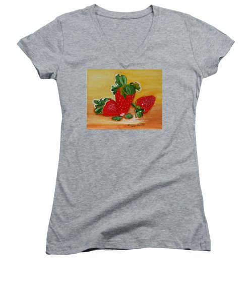 Women's V-Neck T-Shirt (Junior Cut) featuring the painting Strawberry Delight by Johanna Bruwer