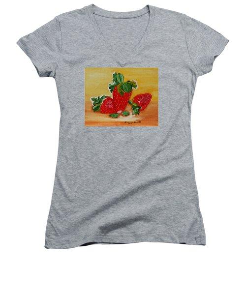 Strawberry Delight Women's V-Neck T-Shirt (Junior Cut) by Johanna Bruwer
