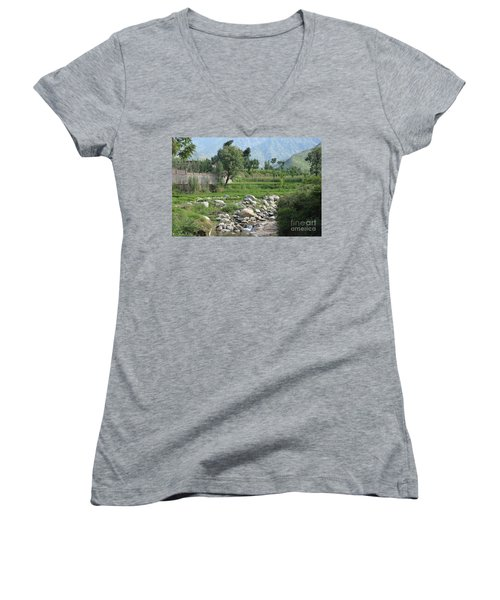 Stream Trees House And Mountains Swat Valley Pakistan Women's V-Neck T-Shirt