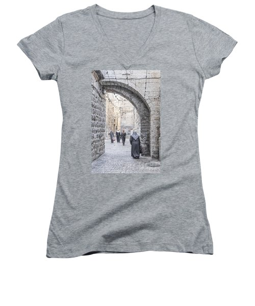 Street In Jerusalem Old Town Israel Women's V-Neck (Athletic Fit)