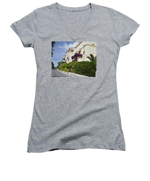 Women's V-Neck T-Shirt (Junior Cut) featuring the photograph Street In Monaco by Allen Sheffield