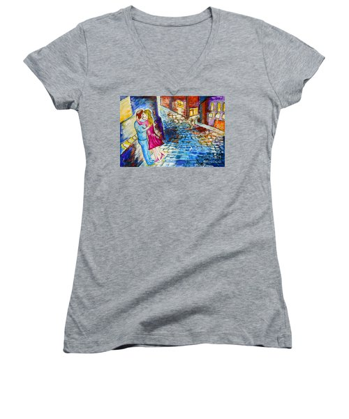 Street Kiss By Night  Women's V-Neck T-Shirt (Junior Cut) by Ramona Matei