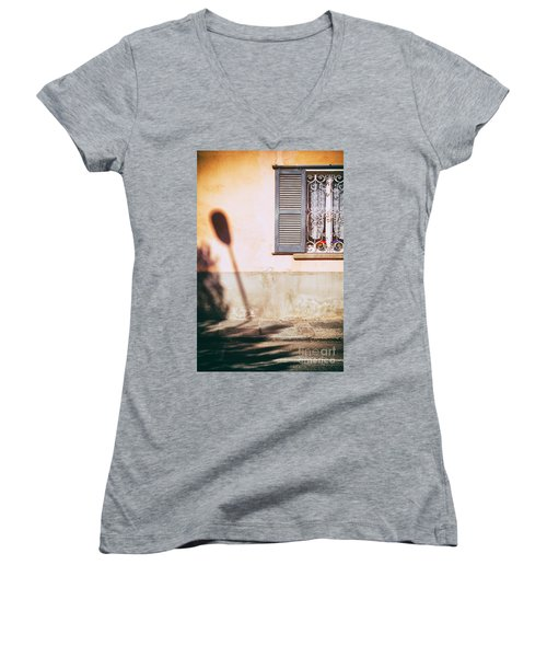 Women's V-Neck T-Shirt (Junior Cut) featuring the photograph Street Lamp Shadow And Window by Silvia Ganora