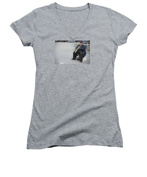 Women's V-Neck T-Shirt (Junior Cut) featuring the photograph Street Musician - The Gypsy Saxophonist 3 by Teo SITCHET-KANDA