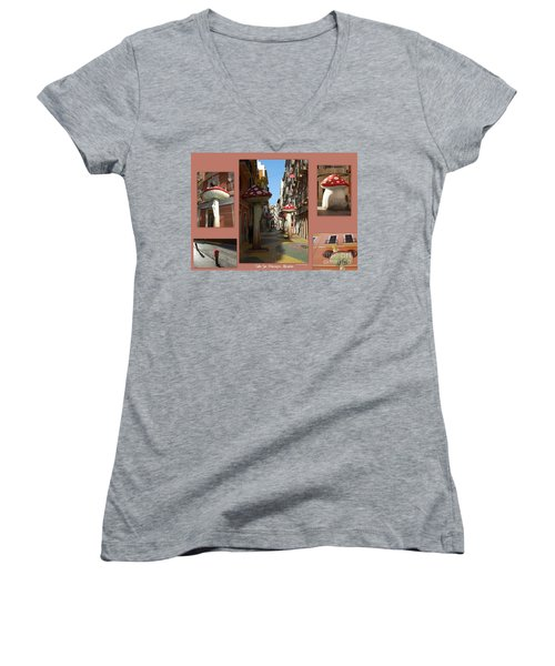 Street Of Giant Mushrooms Women's V-Neck T-Shirt (Junior Cut) by Linda Prewer