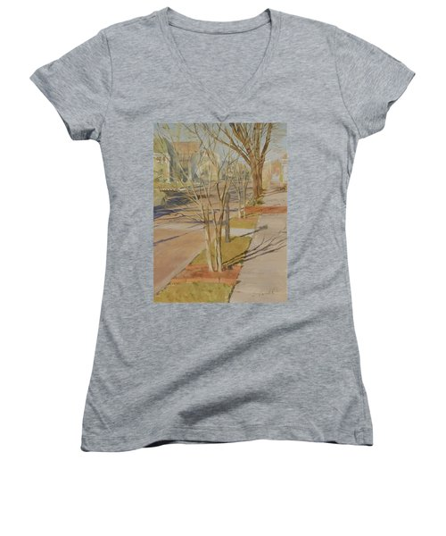 Street Trees With Winter Shadows Women's V-Neck T-Shirt (Junior Cut)