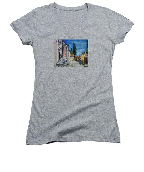 Street View In Rovinj Women's V-Neck