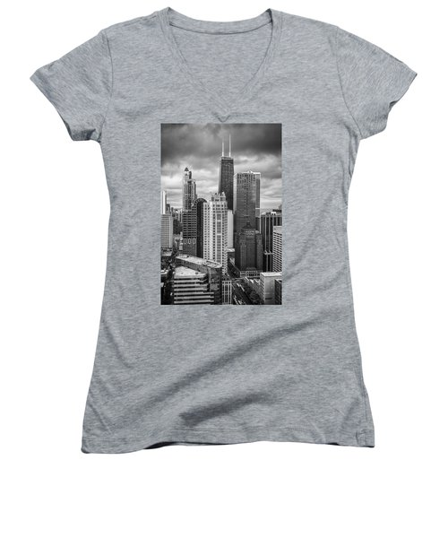 Streeterville From Above Black And White Women's V-Neck T-Shirt (Junior Cut) by Adam Romanowicz