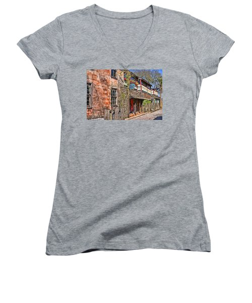 Women's V-Neck T-Shirt (Junior Cut) featuring the photograph Streets Of St Augustine Florida by Olga Hamilton