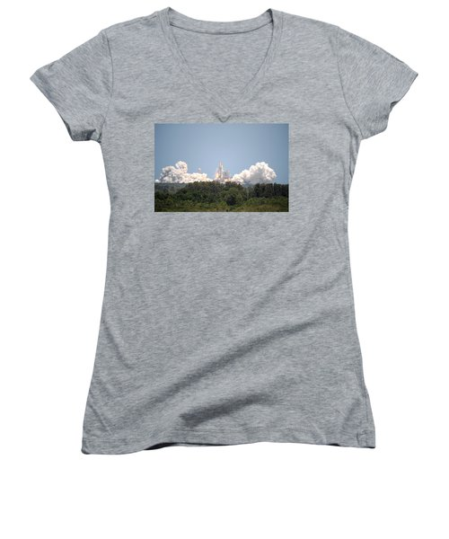 Women's V-Neck T-Shirt (Junior Cut) featuring the photograph Sts-132, Space Shuttle Atlantis Launch by Science Source