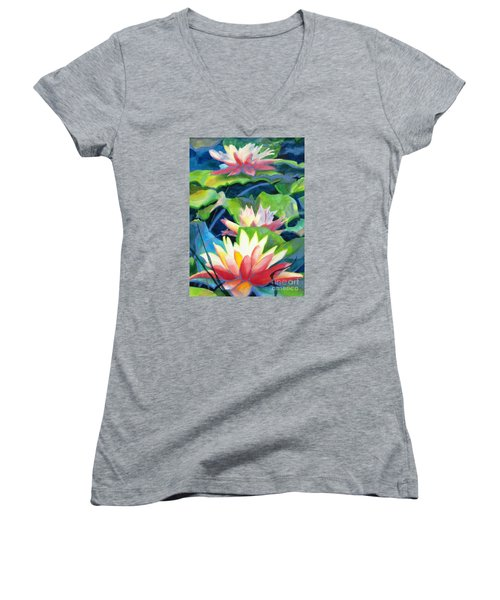 Styalized Lily Pads 3 Women's V-Neck T-Shirt (Junior Cut) by Kathy Braud