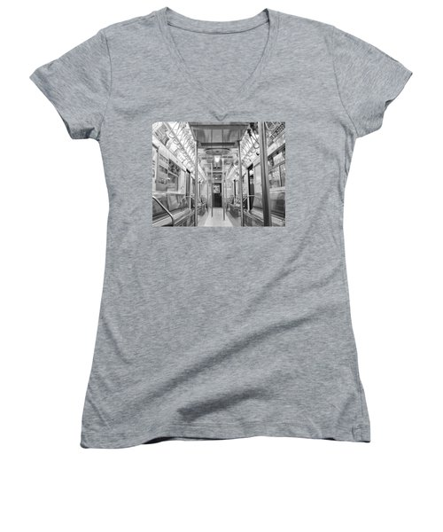 New York City - Subway Car Women's V-Neck