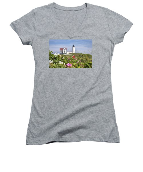 Summer At Nubble Light Women's V-Neck T-Shirt